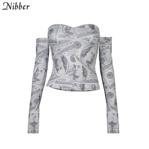 Nibber Sexy Elegant Printed Graphics Off Strapless Top Women T-shirts 2020 Autumn Hot Club Party Night Wear Tube top Tees Female