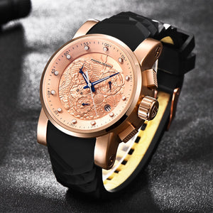 PAGANI DESIGN New Luxury Brand Watches Chinese Dragon Calendar Waterproof Silicone Quartz Rose Gold Watch Men Relogio Masculino