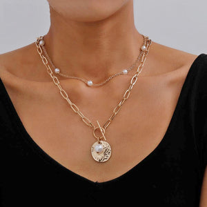 Pearl Coin Pendant Choker necklaces for women Punk Double Layer Clavicle Chain Wedding Holiday Street collares Jewelry Gifts NEW