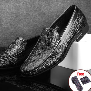 Phenkang Men Leather Alligator Texture Slip-On Casual Shoes Male Sneakers loafer Mens Coffee Men's Loafers Driving Shoes