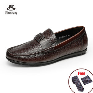 Phenkang Men Leather Summer Casual Shoes Male Sneakers loafer Mens Slip On Coffee Men's Genuine Leather Loafers Driving Shoes