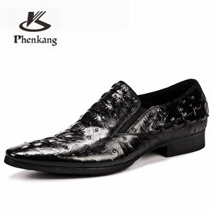 Phenkang mens leather shoes genuine leather oxford shoes for men luxury dress shoes slipon wedding shoes leather brogues 2020