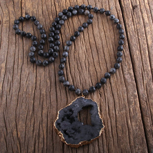 RH Fashion Bohemian Tribal Jewelry Semi Precious Stone Knotted Natural Druzy Pendant Necklaces