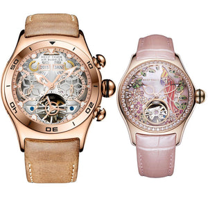Reef Tiger Aurora Air Bubble Rose Gold Skeleton Dial Mens Watch And Aurora Parrot Rose Gold Diamonds Women Watch Set