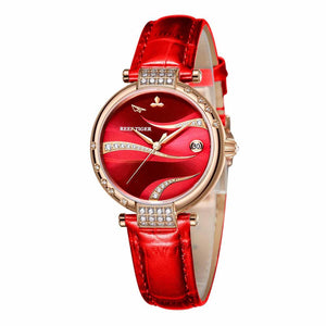 Reef Tiger/RT 2020 Automatic Watches Women Rose Gold Case Red Genuine Leather Strap Day Automatic Diamond RGA1589