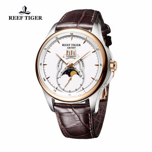 Reef Tiger/RT Fashion and Generous Watches for Men Mechanical Moon Phase Watches Double Window Date Leather Strap Watch RGA1928