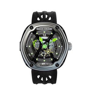 Reef Tiger/RT Luxury Dive Sport Watch Luminous Dial Nylon/Leather/Rubber Strap Automatic Creative Design Watch RGA90S7