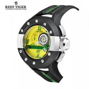 Reef Tiger/RT Mens Chronograph Sport Watches Dashboard Dial Quartz Movement Watch with Date Stop Watch Green Yellow RGA3027