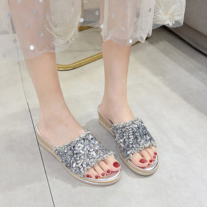 SAGACE Summer Slippers Woman Sequin Fish Mouth Slippers Wedge Platform Beach Slipper For Women Lady Shoes 2020 Zapatos Mujer
