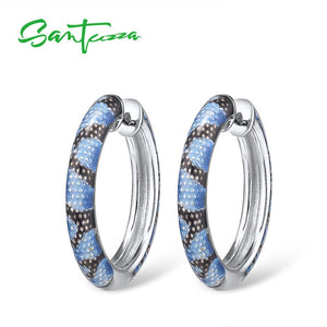 SANTUZZA  925 Sterling Silver Earrings For Women Delicate Blue Grey Enamel Snake Veins Hoop Earrings Chic Fine Jewelry Handamde