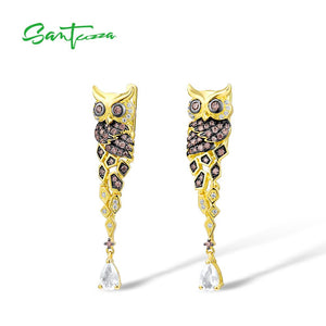 SANTUZZA Silver Earrings For Women 925 Sterling Silver Gold Color Sparkling Chocolate CZ Creative Owl Drop Earrings Fine Jewelry