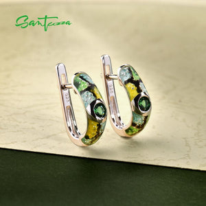 SANTUZZA Silver Earrings For Women 925 Sterling Silver Green Spinels Dainty Earrings Fashion Jewelry Colorful Enamel Handmade