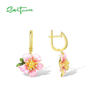 SANTUZZA Silver Earrings For Women 925 Sterling Silver Light Pink Blooming Flower Drop Earrings Fine Jewelry Handmade Enamel