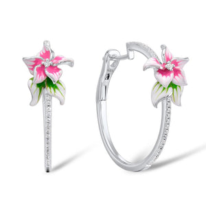 SANTUZZA Silver Earrings For Women 925 Sterling Silver Pink Flower Hoop Earrings Silver Cubic Zirconia brincos Jewelry Enamel