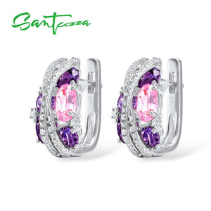 SANTUZZA Silver Earrings For Women Authentic 925 Sterling Silver Shimmering Amethyst Pink Cubic Zirconia серьги Fine Jewelry