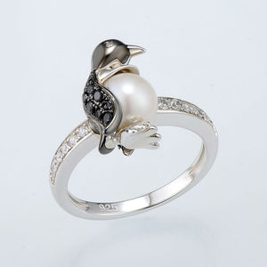 SANTUZZA Silver Penguin Pearl Ring For Women 925 Sterling Silver Trendy Fashion Rings for Women Cubic Zirconia Ringen Jewelry