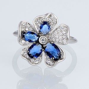 SANTUZZA Silver Ring For Woman Charming Blue Flower Ring AAA Cubic Zirconia Rings Pure 925 Sterling Silver Party Fashion Jewelry