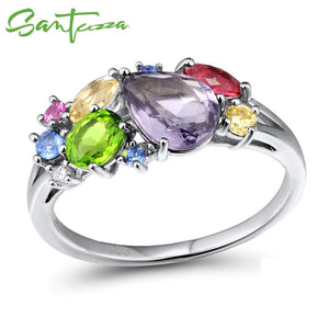 SANTUZZA Silver Ring For Women 925 Sterling Silver Fashion Rings for Women Colorful Stones Cubic Zirconia Ringen Party Jewelry