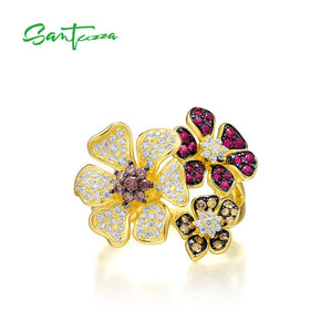 SANTUZZA Silver Ring For Women 925 Sterling Silver Flower  Colorful Shiny Created Ruby White CZ Ring Elegant Party Fine Jewelry