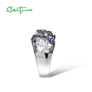 SANTUZZA Silver Rings For Woman Sparkling Blue and White Cubic Zirconia Genuine 100% 925 Sterling Silver Ring Fine Jewelry