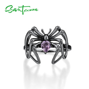 SANTUZZA Silver Rings For Women Authentic 925 Sterling Silver Purple Stone Black Spider Ring Trendy Party Ring Fine Jewelry