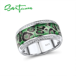 SANTUZZA Silver Rings For Women Genuine 925 Sterling Silver Glamorous Green Rings Trendy Gift Party Fine Jewelry Handmade Enamel