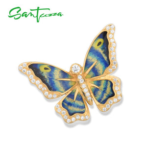 SANTUZZA Silver Rings For Women Genuine 925 Sterling Silver Gold Color Blue Butterfly Fine Trendy Jewelry Handmade Enamel