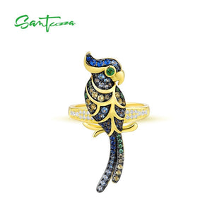 SANTUZZA Silver Rings For Women Pure 925 Sterling Silver Gold Color Lovely Bird Sparkling Blue Green Stones Trendy Fine Jewelry