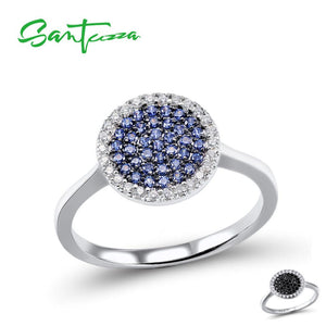 SANTUZZA Silver Rings For Women Pure 925 Sterling Silver Sparkling Black Spine Blue CZ Circle Ring Fashion Party Fine Jewelry