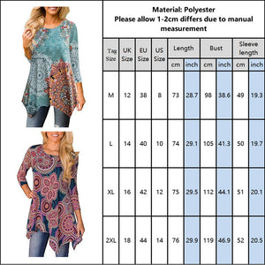 Sale New Arrival 2020 Autumn Tops Plus Size Women Boho Floral Print Tees Casual Loose Tshirts Fashion Female Clothing D30