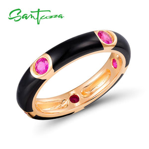 Santuzza Silver Ring for Women Natural Red Stones Pure 925 Sterling Silver Eternity Ring Fashion Jewelry Black Enamel HANDMADE