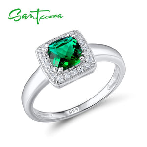 Santuzza Silver Rings for Woman Green Crystal Stone Ring AAA Cubic Zirconia Rings Pure 925 Sterling Silver Party Fashion Jewelry