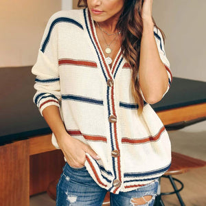 Sexy Deep V-neck Cardigans Sweaters Women Button Open Stitch Striped Knitwear Coats Long Sleeve Loose Tops Knitted Causal Coat