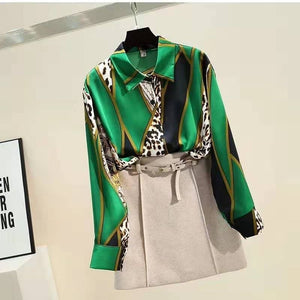 Spring and autumn 2020 new Korean retro versatile contrast printed Leopard Print Chiffon shirt women's top Long Sleeve Shirt