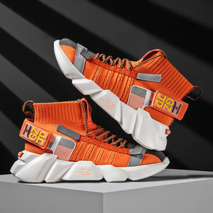 Vip Link High-Top Sock Shoes Men Casual Fashion Sneakers Breathable Flying Weaving High Street Footwear Night Reflective Shoes