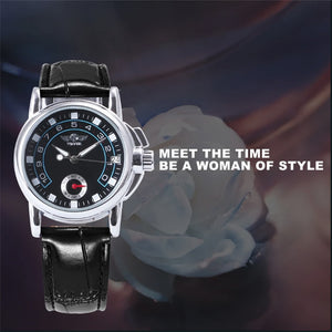 WINNER Mechanical Women Watch Hand-Winding Black Leather Wristwatch Business Auto-Date Display Ladies Watches