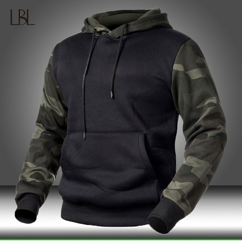 Winter Fleece Camouflage Hoodies Men's Military Tactical Pullover Hoody Sweatshirts Male Autumn Loose Camo Streetwear Sportswear