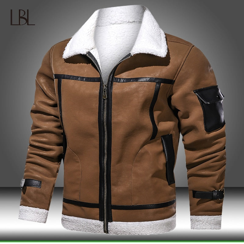Winter Mens Jackets Coats Thicken Warm Leather Jacket Men Motorcycle PU Jacket Fur Lined Coat Fleece Overcoat Male Sportswear