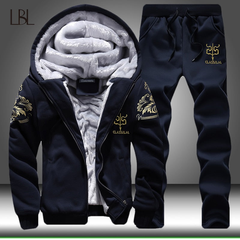 Winter Thick Men Sports Suit Tracksuit Hooded Sportswear Mens Zipper Hooded+Elastic Pants Casual Man Set Lined Sweatshirt+Pants