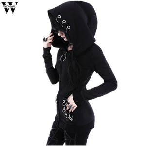Womail Sweatshirts Print Hooded Solid Black Autumn Loose Gothic Punk Long Sleeve Fashion Sweatshirt Sudadera S-XXL J30