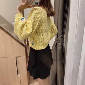 Women French Knitting Twist Flower Embroidery Sweater Vintage Short Pullover Knitwear Long Puff sleeve Jumper Tops
