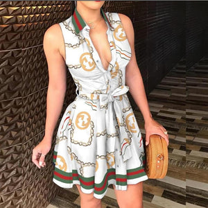 Women Girls Print Sleeveless Dress Casual Bandage Mini A-line Dresses Sexy Party Summer Feminias Vestidos Female Sleepwear