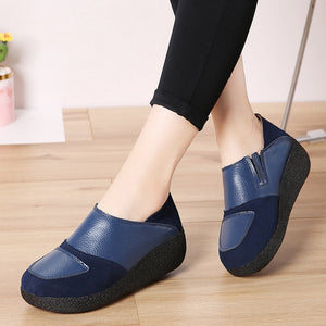 Women High Heels Shoes Platform Sneakers Women Suede Leather Women Casual Shoes Slip On Heels Creepers Moccasins