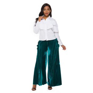 Women Pants Trousers Velvet Wide Leg Fashion Zipper Ladies Female Pants High Waist Casual Elegant Classy Autumn Winter Bottoms