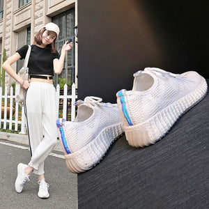 Women Running Jogging Sports Shoes Knitting Soft Flat Comfortale Outdoor Fitness Casual Breathable Training Shoes Size 35-39