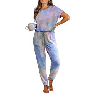 Women Tie Dyed Casual Fashion Jumpsuits Short Sleeve O Neck with Waist Belt Lace Up Fashion Summer New Colorful Printed Playsuit