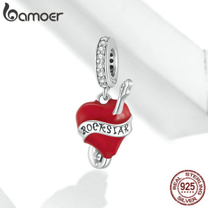 bamoer 2020 Electric Guitar Enamel CZ Pendant Charms for  Bracelet or Necklace 925 Sterling Silver Bijoux Jewelry make SCC1627