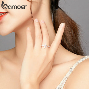 bamoer Genuine 925 Sterling Silver Shine Cross Finger Rings for Women Wedding Band Engagement Statement Jewelry Anel BSR139