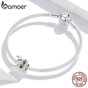 bamoer Real 925 Sterling Silver  Simple Numbers Beads Protect Metal Charm fit Original Silver Bracelet Jewelry MakeSCC1622