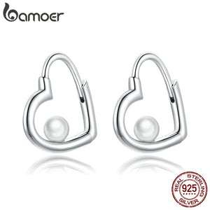 bamoer Sterling Silver 925 Jewelry Cherished Heart silver Stud Earrings for Women Fine Jewelry  Brincos Brincos earring SCE939